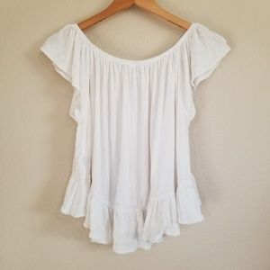 Free People Tops - Free People White Off Shoulder Blouse Top M